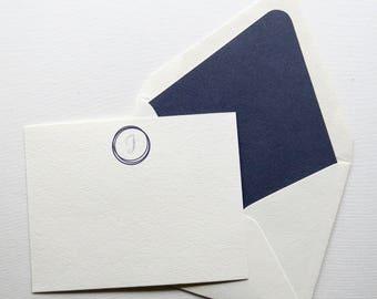 Monogram Stationery Set - Personal Stationery - Professional Stationery - Denim Note Cards - Dark Blue Denim