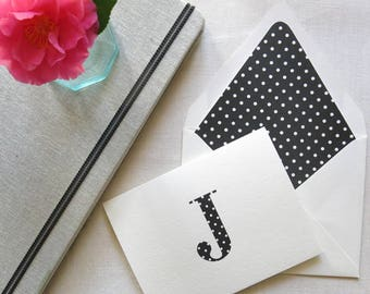 Personal Stationery with Monogram - Polka Dot Notecards - Personal Note Cards - Set of 10 - Black and White Polka Dot