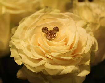 12 Mickey Mouse FREE SHIP Disney Crystal Rhinestone Hidden Mickey Floral Pin for Wedding Bridal Bouquet in Light Belle Gold