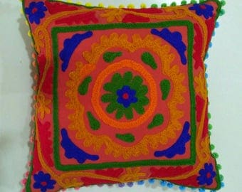 Indian hand Embroidered Cushion covers, hand made suzani cushion covers, Turkish decor, colorful pillow cases, home decor