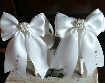 ON SALE Wedding Shoe clips, Bridal shoe clips, Ivory shoe clips, Satin bow shoe clips, Wedding shoes, Bridal shoes