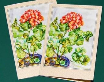 Watercolor painting, flower, geraniums, pelargonium,art, print, colour painting, original, postcard, poster