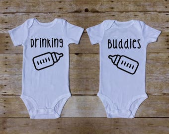Drinking Buddies, Boy Twins, Girl Twins, Set of 2 Twin, Best Friends, Twin Baby Shower Gift, Twin Baby Photoshoot, Funny Twin, Newborn Twins