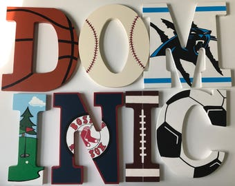 Sports themed wooden letters