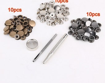 30pcs 15 mm + tool metal snap to attach to leather leather