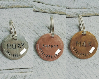 Pet dog tag, dog ID Tag, pet dog ID tag, puppy tag, Handstamped dog ID Tag, dog tag for dogs, Copper Dog Tag, Bronze Dog Tag, Silver Dog Tag