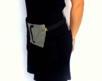 """""""Lucienne"""" Black wool, houndstooth and black and white Rooster foot - wide belt - belt obi"""