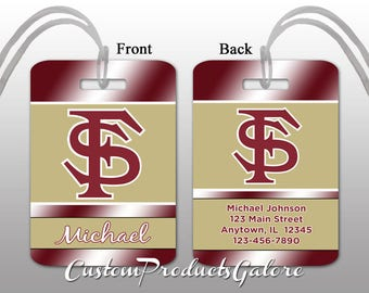 College Luggage Tag, Florida State, Personalized Luggage Tag, Suitcase Bag Tag, Fun Luggage Tag