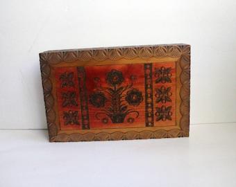 Vintage Floral Carved Wood Box