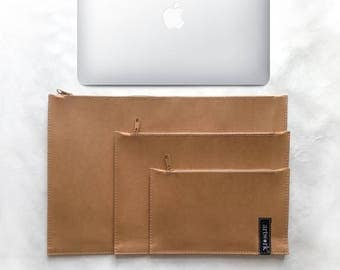 "washable kraft clutch bag for mac book13"" or mac book air and A4 folder + 2 multi-purpose pouchs"
