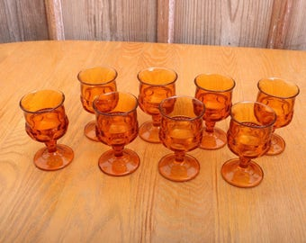 8 Amber Indiana Glass Company Kings Crown Thumbprint Wine Goblets Water