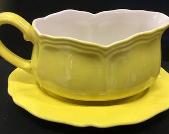 Lemon Federalist Ironstone Gravy Boat