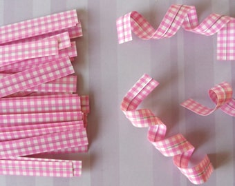 Set of 10 ties (ties) gingham color rose for your packaging