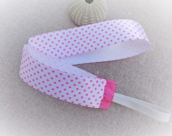 Kids headband hairband headband wide headband white headband Satin Polka dot pink 50 cm