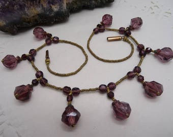 Vintage Amethyst Glass Fringe dropper necklace Fabulous