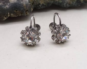 Antique Silver Screw Back Fitting Sparkly Paste Flower Earrings