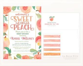 Welcoming A SWEET Georgia PEACH Baby Shower invitation with watercolor peaches and striped backing
