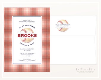 BASEBALL Birthday Party Invitation with watercolor baseball illustration, red and white checked gingham background and navy blue text
