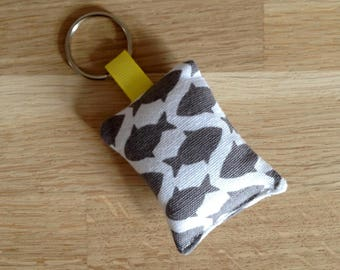 Fabric - grey and white fish keychain