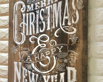 Christmas wood sign, pallet wood sign, large merry christmas and a happy new year, chalk couture,rustic distressed farmhouse style, home