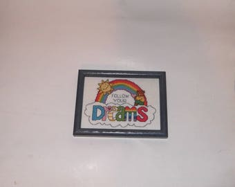 Rainbow Vintage Follow Your Dreams Needlepoint Finished and Framed