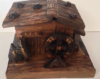 Vintage Black Forest Hand-Carved Wooden Chalet /Trinket Box - with Water Wheel
