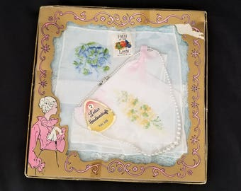 Vintage Boxed Fruit of the Loom Handkerchiefs and Faux Pearl Necklace from the 50s or 60s