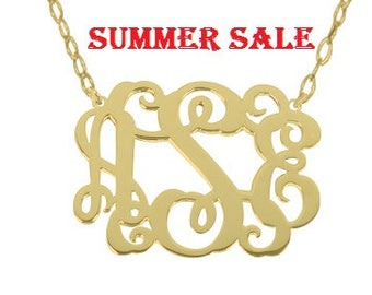 "Personalize Sterling silver Gold Monogram necklace 1"" Any initial Monogram Pendant 18k Gold Plated Monogram necklace Gold Monogram"