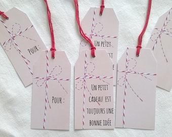 Beige 6 labels trompe l'oeil baker twine