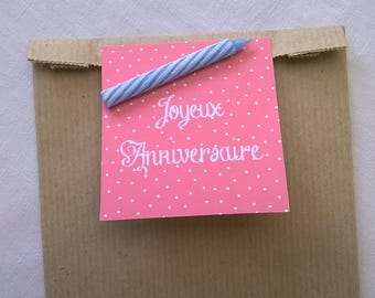 Pink tag and candle birthday gift bag