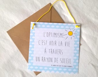 Card Interior optimism amid clouds blue sky and Sun