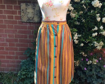 Late 1950's Early 60's  Stripey Dirndl Skirt