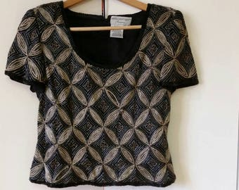 Vintage Adrianna Papell Beaded Evening Top Black and Gold Metallic