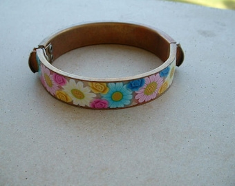 BANGLE COPPER OLD DECORATED WITH POLYMER FLOWERS