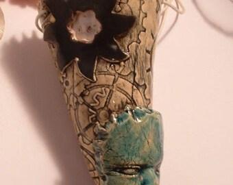 door plant (tillandsia) tapered ceramic - handmade