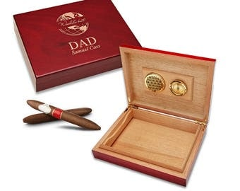 Custom Personalized World's Best Dad Humidor - Father's Personalized Wooden Cigar Humidor - Cigar Humidor - Gift for Dad - Cigar Box