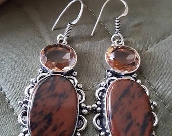 Mahogany Obsidian and Quartz Earrings !