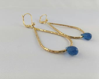 LUX earrings gold plated Miyuki Delica beads and Blue Crystal drop