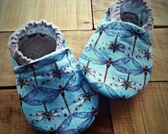 Blue, brown, copper, dragonfly,  Moccasins, baby crib shoes, soft sole