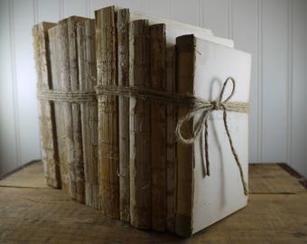 Twine Bundled Bare Vintage Books - 10 Total Books in 2 Sets - No Cover Decorative Books, Rustic Unbound Books, Raw Book Stack
