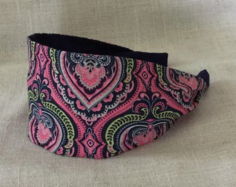 Paisley Headband, Pink Paisley, Womens Headband, Wide Headband, Headbands For Women, Adult Headband, Girls Headband, Custom Hairband