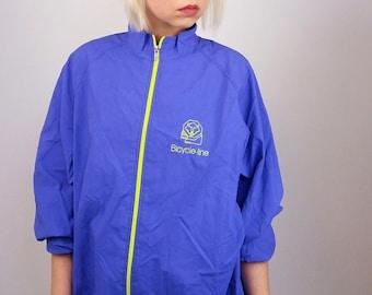 Vintage Unisex Festival Soft Shell Jacket / Windbreaker | Purple Zip Jacket | Unisex Cycling Jacket | Size XXXL
