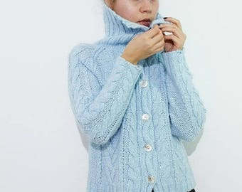 ON SALE Vintage Cable Knit Wool Cardigan