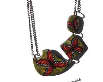 """Flight"", polymer clay, hand made necklace."
