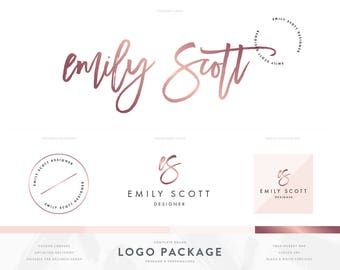 Rose Gold Signature Logo Design Branding Package with Photography Logo Watermark Stamp and Script Style Initials Logo in Modern Blush Pink
