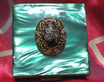 Art Deco Brass Contact Lens Case with Mosaic Decorative Design and Accessories