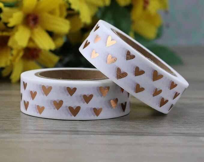 Rose Gold Foil Heart Washi Tape - Foil Washi Tape - Heart Foil Washi Tape - Paper Tape - Planner Washi Tape - Washi - Decorative Tape - Deco
