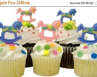 SALE Blue boy baby rocking horse cupcake picks - 1 dozen