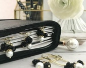 Black Flower and Pearl Dangle Charm Paperclip