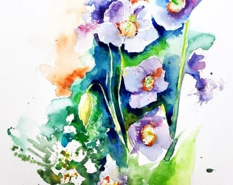 """Original watercolor - Delivery free """"Himalayan Blue poppies"""" (flowers bouquet fresh nature watercolor painting wild color)"""